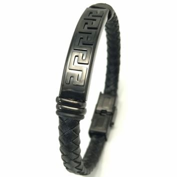 Versace Great Wall rose gold stainless steel genuine leather woven bracelet F-LCZD-ALRSP pure black