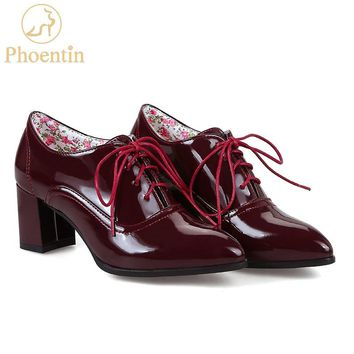 Phoentin wine red lace up women pumps heel shoes pointed toe office concise women heels flower insole shoes large size 48 FT287