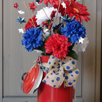 Fresh Red White and Blue - Vintage Red Enamel Milk Pitcher w/ Red Daisies, Red, White and Blue Carnations and Polka Dot Burlap Ribbon