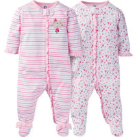 Gerber® 2-Pack Zip-Front Floral/Stripe Footies in Pink