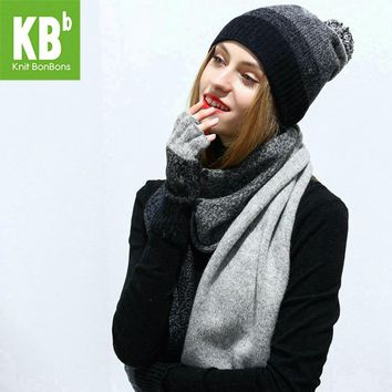 2017 KBB Women Scarf Hat Set Gray Knitted Wool Lambswool Female Women's Scarves Tippet Gloves With Beanie Hats Cap For Winter