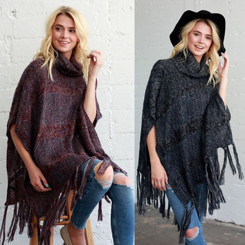 Western Fashion TURTLE NECK FRINGE KNIT PONCHO Wrap Scarf Shawl Long SWEATER