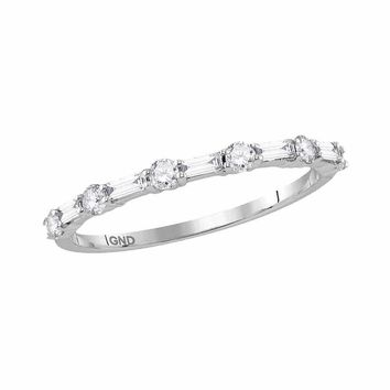 10kt White Gold Women's Round Baguette Diamond Stackable Band Ring 1-3 Cttw - FREE Shipping (US/CAN)