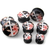 1 Pair of 0 Gauge (0G - 8mm) Floral Cross Plugs - Single Flared