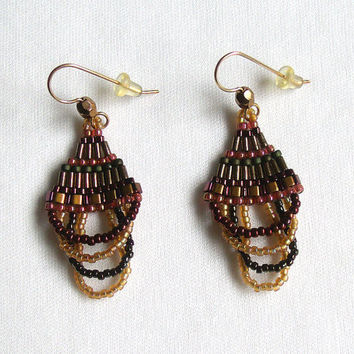 Brick Stitch Beaded Earrings, Woven Glass Seed and Bugle Beads, Fall Colors, with Gold-filled Fishhook Earring Wires, Beadwork Jewelry