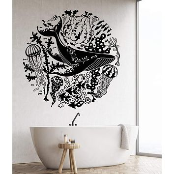 Vinyl Wall Decal Blue Whale Sea Ocean Animals Jellyfish Marine Style Stickers Unique Gift (1183ig)