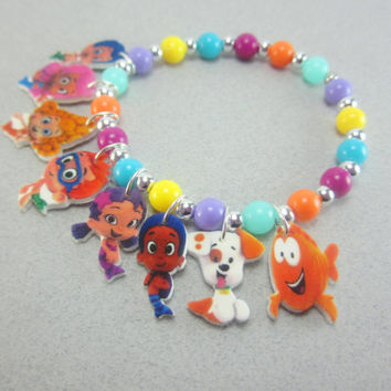 Bubble Guppies Charm Bracelet- Jewelry for Kids, Parties, Gifts