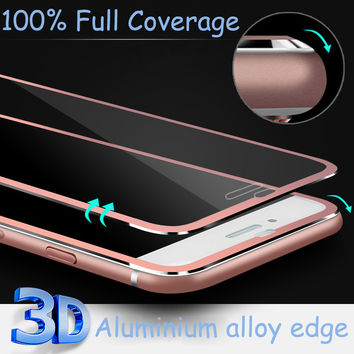 Aluminum alloy Tempered glass Coque case For Apple iphone 6 6S 7 plus Fundas Accessories Full screen coverage cover 5 5S SE 5C