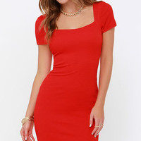 Photo Opportunist Coral Red Bodycon Midi Dress