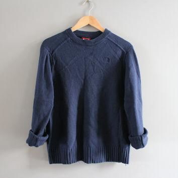 North Face Sweater Navy Blue Sweater North Face Dark Blue Pullover Slouchy Sweater Cre