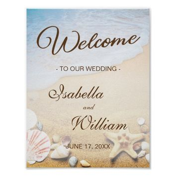 Welcome Sign | Tropical Beach Starfish Wedding