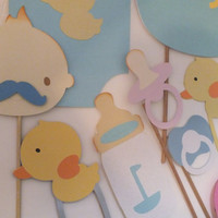 Photo booth props: baby shower girl or boy