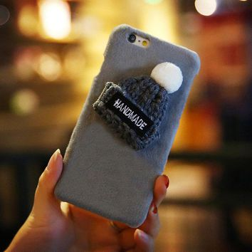 Gray Knitted Hat Fuzzy Phone Case