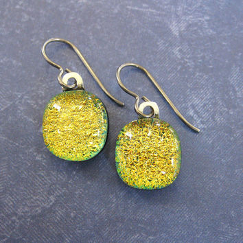 Dangle Dichroic Gold Orange Earrings, Niobium Earrings for Very Sensitive Ears, Fused Glass Jewelry, Hypoallergenic Jewelry - Tahki - 116 -4