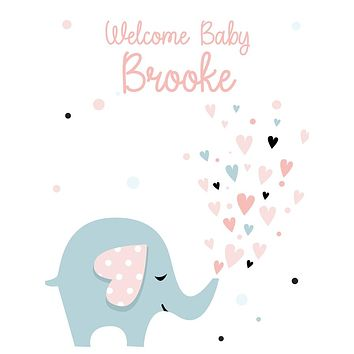 Custom Welcome Baby Shower Elephant Hearts  Backdrop (Any Color) Background - C0268