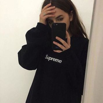 Supreme Couple Casual Letter Print Velvet Long Sleeve Pullover Sweatshirt Top Sweater