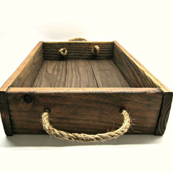 Small Rustic Reclaimed Wood Tray with Rope Handles - Handmade Wooden Breakfast Serving Tray - Ottoman Tray, Centerpiece Tray, Dessert Tray