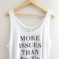 More Issues Than Vogue Graphic White Flowy Crop Tank