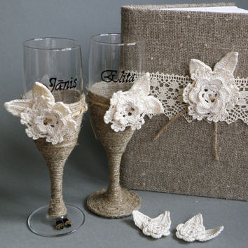 2 Champagne Glasses and Guest Book, burlap decorated with Hand Crocheted Lace flowers
