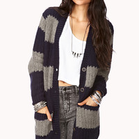 Rugby Striped Boyfriend Cardigan