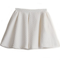 Shop Street Fashion Cream White Neoprene Quilted Cotton Volume Skirt | Goodnight Macaroon