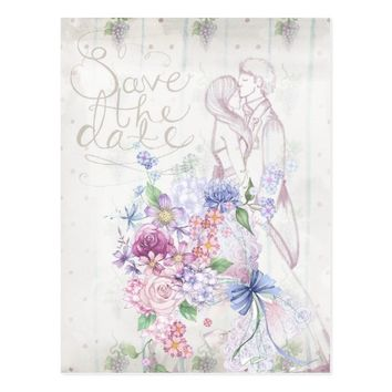 Wedding Floral Couple Drawing Save The Date Postcard