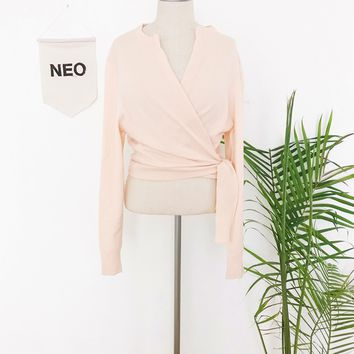 Champagne Pink Wrap Sweater