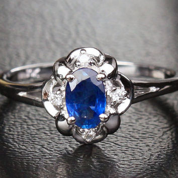 Petite Sapphire Diamond Ring in 18k White gold Ring Size 7- Flower .62CT Ceylon Sapphire VS Diamonds, Anniversary Ring, Birthstone Ring