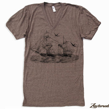 Unisex Vintage STEAMSHIP Tri Blend V Neck T Shirt american apparel XS  S  M  L (3 Color Options)