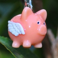 Pink flying pig earrings by MeredithsLittleShop on Etsy