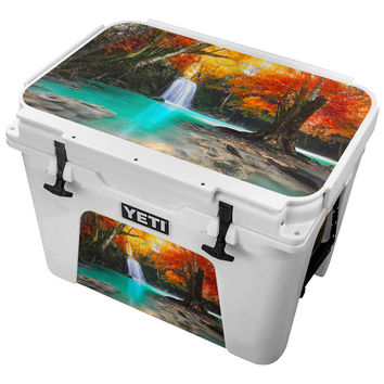 Crystal Blue Waterfall Flowing Into Calm Pool Skin for the Yeti Tundra Cooler