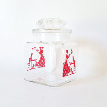 Vintage Glass Candy Cookie Jar Glass Cannister Red Glass Kitchen Storage Flour Sugar Jar Red Glass Cannister Cottage Chic Retro Candy Jar