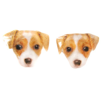 Realistic Jack Russell Terrier Puppy Face Shaped Animal Resin Stud Earrings | Made To Order | Handmade