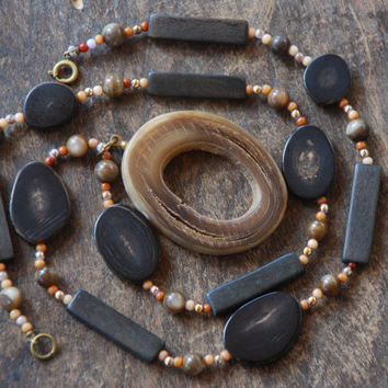 Vintage Buffalo Horn Necklace Natural Stone Beads Brass Findings Wood Browns Boho Ethnic Tribal 1970's // Vintage Costume Jewelry