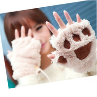Fluffy Bear/Cat Plush Paw/Claw Glove Novelty Halloween Soft Toweling Half Covered Women's Gloves Mittens = 1958083972