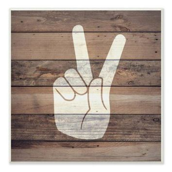 DCCKHB3 Stupell | Victory Sign on Wood Background Wall Plaque - 10'x15'