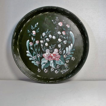 A Round Metal Tray Base Painted Green Hand Painted Original Design Rosemaling Folk Art.
