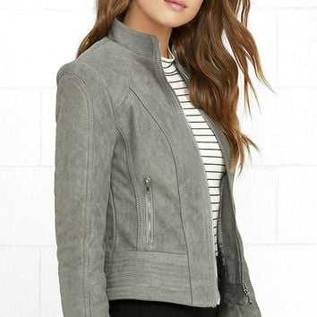 BB Dakota Stuart Grey Suede Jacket