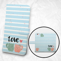 iPhone 6 6S Plus case, Samsung Galaxy S6 case, Edge case Note 5 4 3 2 PU leather flip cover Book Phone case Wallet case - Meow Meow Couple
