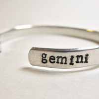 Gemini Bracelet, Gemini Jewelry, Horoscope Bracelet, Astrology Jewelry, Horoscope, Handstamped Jewelry, Birthday Gift, June Birthday, Bangle