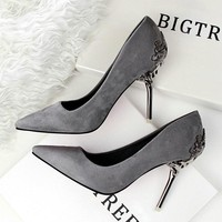 Quality Suede Leather Metal High Heel Stilettos -10 Color Options-