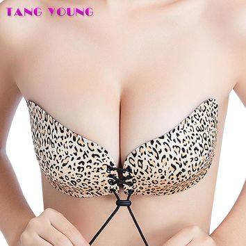 Sexy Seamless Leopard Strapless Silicone Fly Bra Push Up Self-Adhesive Wedding Bralette Invisible Intimates Women Underwear New