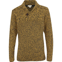 River Island Boys yellow shawl neck knit sweater