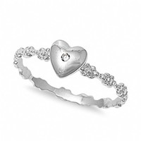 Tracey's Sterling Silver Cubic Zirconia Heart Promise Ring