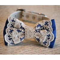 Royal Blue Lace Dog Bow Tie, Rustic, Bohemian