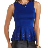Peplum Tank with Cut-Outs by Charlotte Russe - Neon Cobalt