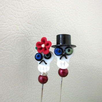 Day of the Dead Cake Topper Sugar Skull Gothic Wedding Lapel Pin Hat Pin Bride & Groom White Red