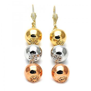 Gold Layered 5.094.004 Long Earring, Ball and Flower Design, Polished Finish, Tri Tone