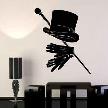 Vinyl Wall Decal Magician Illusionist Top Hat Gentleman Walking Cane Stickers Unique Gift (1432ig)