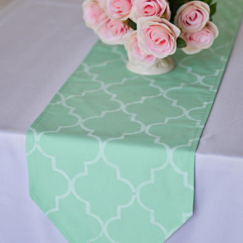 Moroccan style mint green table runner, hand stenciled white quatrefoil pattern, custom lengths and colors available, made to order